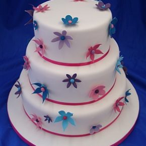 Tropical Flowers Wedding Cake