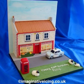 3d Yorkshire Village Store - HeartBeat Birthday Cake