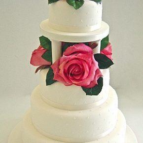 Large Rose Pink Roses Wedding Cake