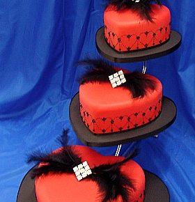 Red Hearts Diamonte Wedding Cake