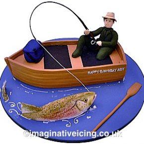 Freshwater Fishing Fisherman Birthday Cake