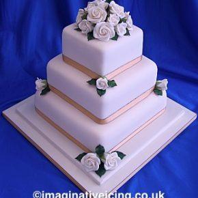 Simply Roses Wedding Cake