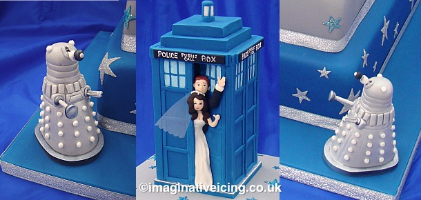 Dr Who Fan's Tardis Wedding Cake