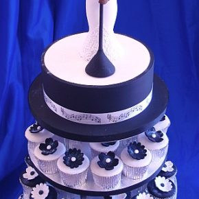 Jazz Blues Birthday Cake with Black & White Cupcakes