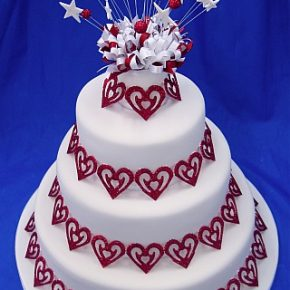 Sparkly Red Hearts Wedding Cake
