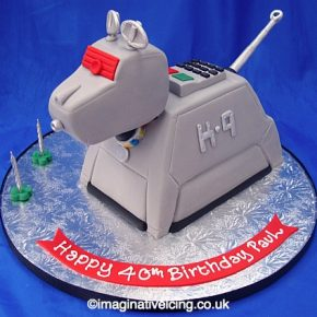 K9 shaped Birthday Cake