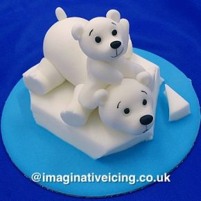 Polar Bear Cub & Mother Bear - cake topper