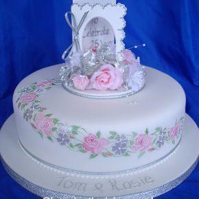 25th Silver Anniversary Card Cake