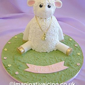Baby Lamb Christening Cake - Naming Day - 1st Birthday
