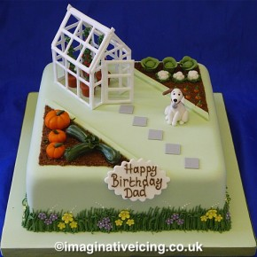 Dads' Prize Winning Pumpkins - Vegetable Garden birthday cake