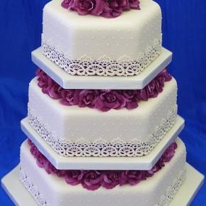 Plummy Pink & Ivory Lace Hexagonal 3 Tier Wedding Cake
