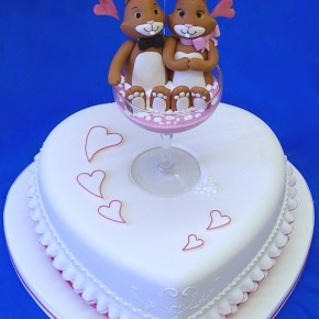 Valentine Champagne Love Bunnies - Heart Shaped Engagement Celebration Cake