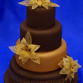 Chocolate Wedding Cake with Gold Lace flowers