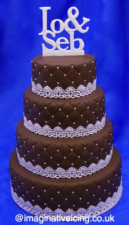 Chocolate Wedding Cake Lattice pattern emboss, pearlised dragees/sugar balls & lace. Handmade Icing names of Bride & Groom.