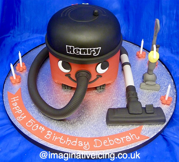 Henry Hoover Cake - with optional icing model of a tiny Dyson vacuum cleaner