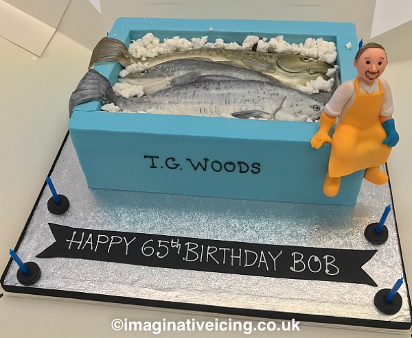 Freshly caught sea fish in a fish box - birthday cake - Cod, Whiting, Salmon