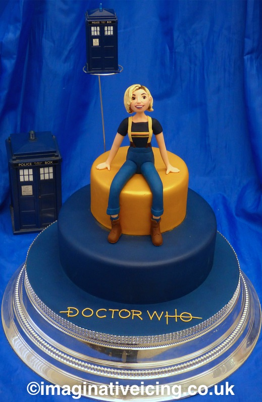 Doctor Who 13th Doctor Regeneration / Birthday Cake - with icing model of Jodie Whittaker 2018 - tardis blue backdrop