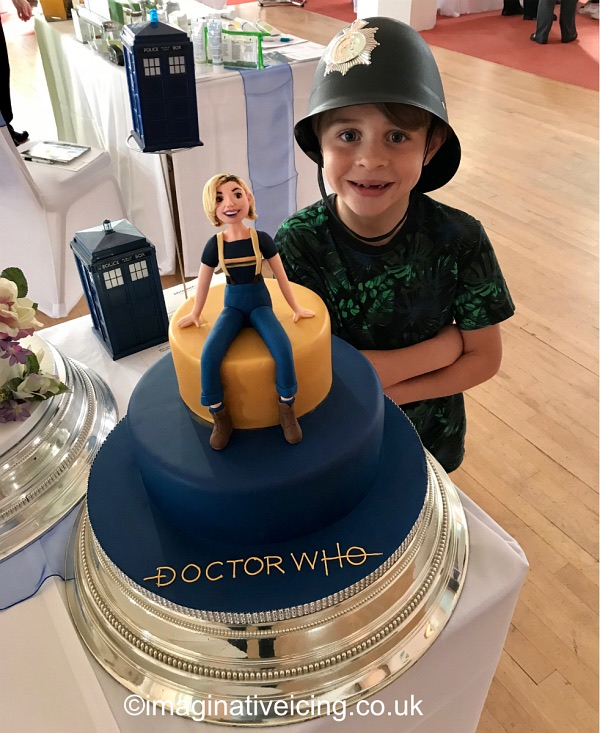 Doctor Who 13th Doctor Regeneration / Birthday Cake - with icing model of Jodie Whittaker 2018 - Very Young Policeman investigates reports of exploding police boxes...