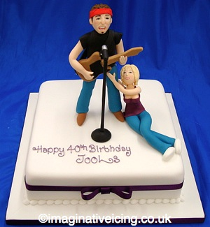 Live Rock Music Fan 40th Birthday Cake Imaginative Icing