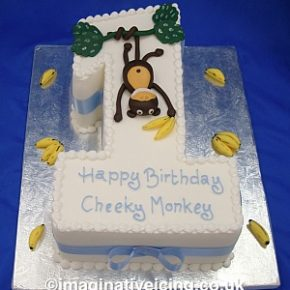 Number One Cheeky Monkey Birthday Cake