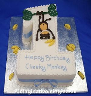 Number 1 Cheeky Monkey Birthday Cake