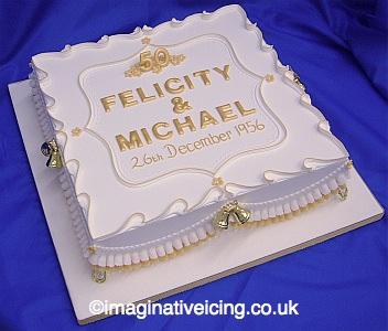Golden Wedding Anniversary Cake Imaginative Icing