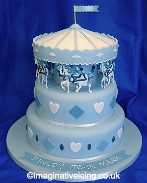 merry-go-round Christening Cake - blue