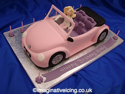 Birthday Girls Pink Car Cake Imaginative Icing Cakes