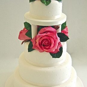 Large Rose Pink Roses Wedding Cake