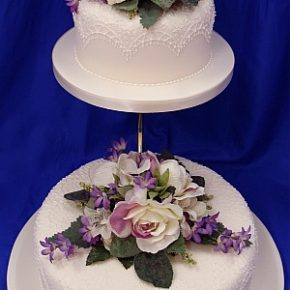Lace Piping & Silk Flowers Ivory Wedding Cake