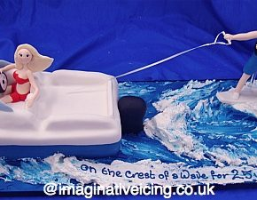 Speedboat Wakeboarding Couple Anniversary Cake
