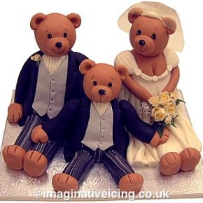 Bride and Groom Wedding Bears Wedding Cake