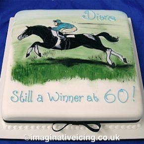 Race Horse & Rider Birthday Cake