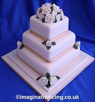 Simply Roses Ivory Wedding Cake