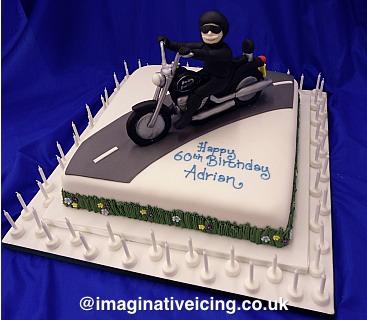 60th Birthday Motorbike Rider Cake Imaginative Icing
