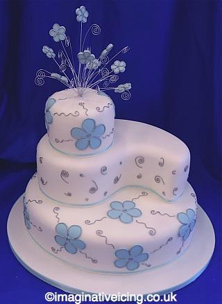 Blossoms and Swirls Tiered Wedding Cake