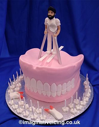 Dentist Skiing On Top Of A Set False Teeth Birthday Cake