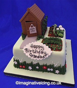 garden shed allotment cake