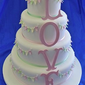 Bunty - Large Love Letters Bunting Wedding Cake