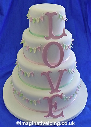 Bunty - Icing Love Letters & Bunting Wedding Cake