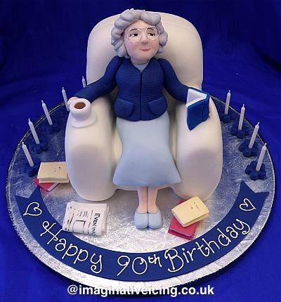 Granny Sat in Armchair Birthday Cake