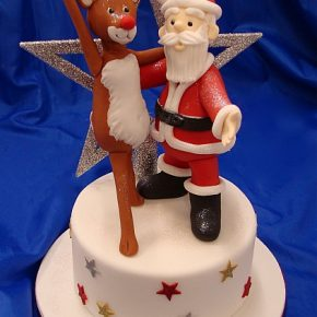 "Santa & Rudolf ""Keep Dancing"" for Christmas Cake"
