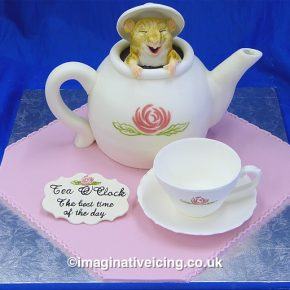 Dormouse in a teapot cake