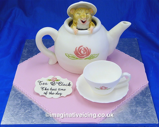 Pleasant Dormouse In A Teapot Cake Imaginative Icing Cakes Personalised Birthday Cards Cominlily Jamesorg