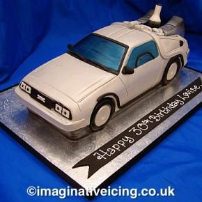 3D Delorean shaped Birthday Cake