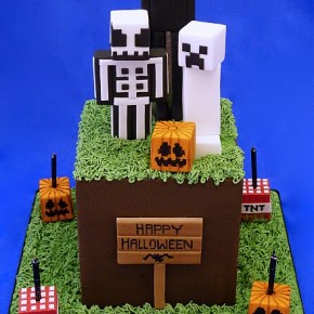 Minecraft Halloween cake - grass cube, skeleton,  ghost creeper, enderman, square pumpkins, tnt