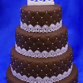 Chocolate Wedding Cake with Lattice pattern emboss, pearlised dragees/sugarballs, Lace & Icing Names Topper