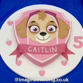 Skye Paw Patrol Birthday Cake - Shield shape