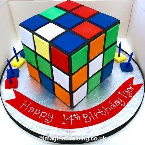 3D Rubik's Cube Puzzle Cake