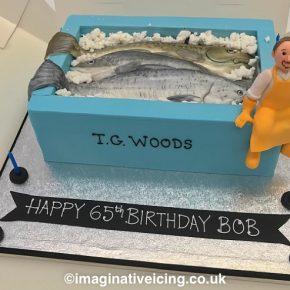 Freshly Caught Fish in a Fish Box - Birthday Cake